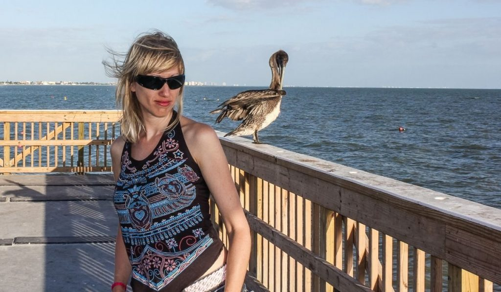 Pelican and a Woman