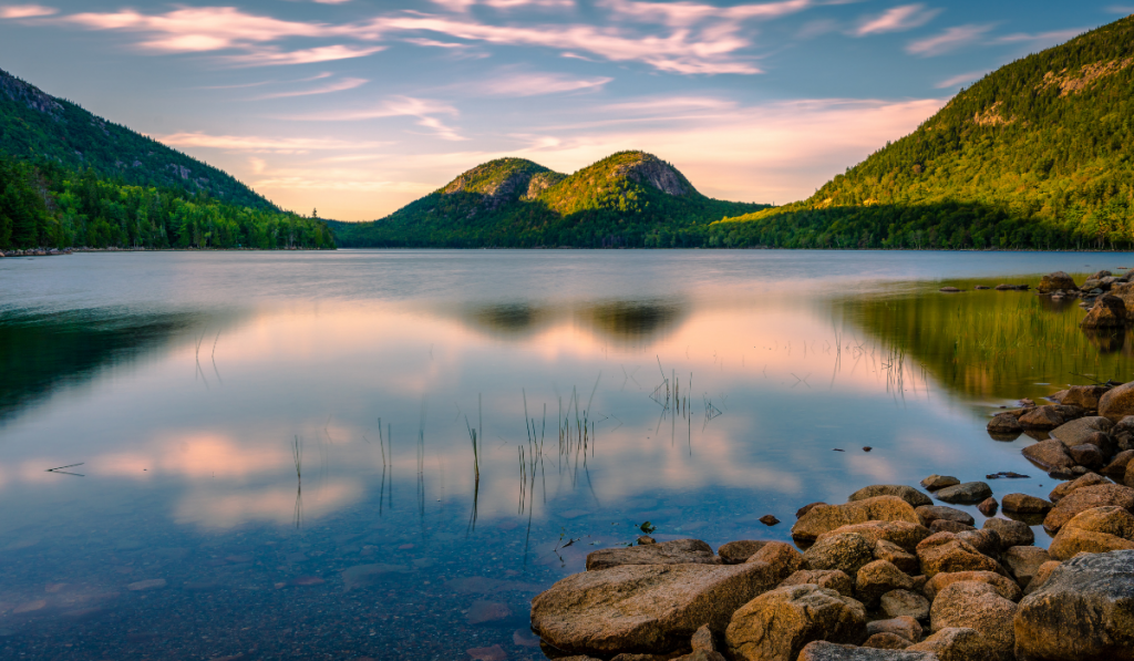 A calm picture of lake at Acadia National Park