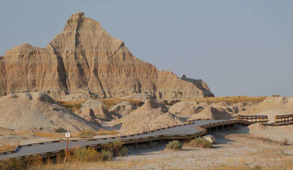 A deserted place with a built-in walk wat at Badlands National Park.
