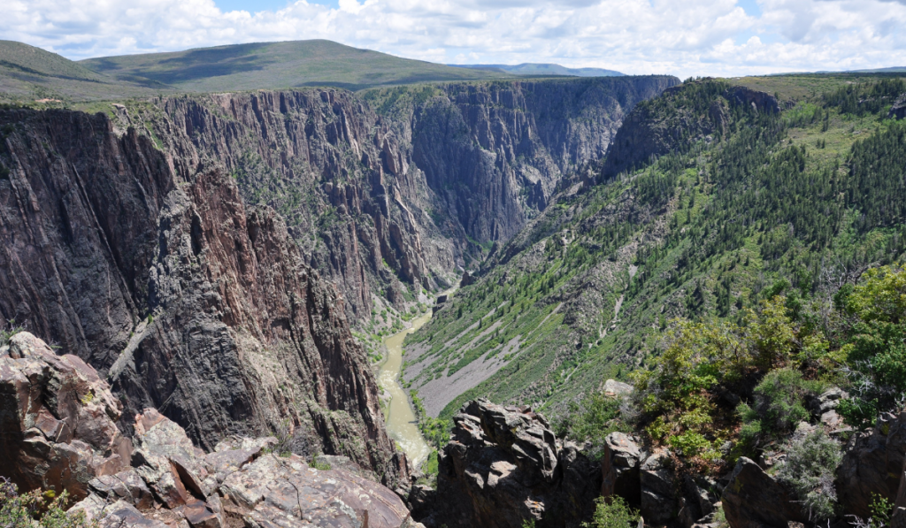 A bird's eye view of the beautiful landscape of Black Canyon