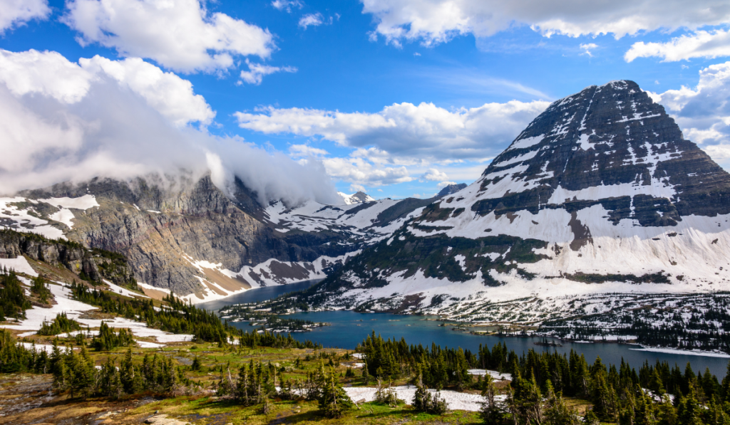Panoramic picture of the Glacier National Park.