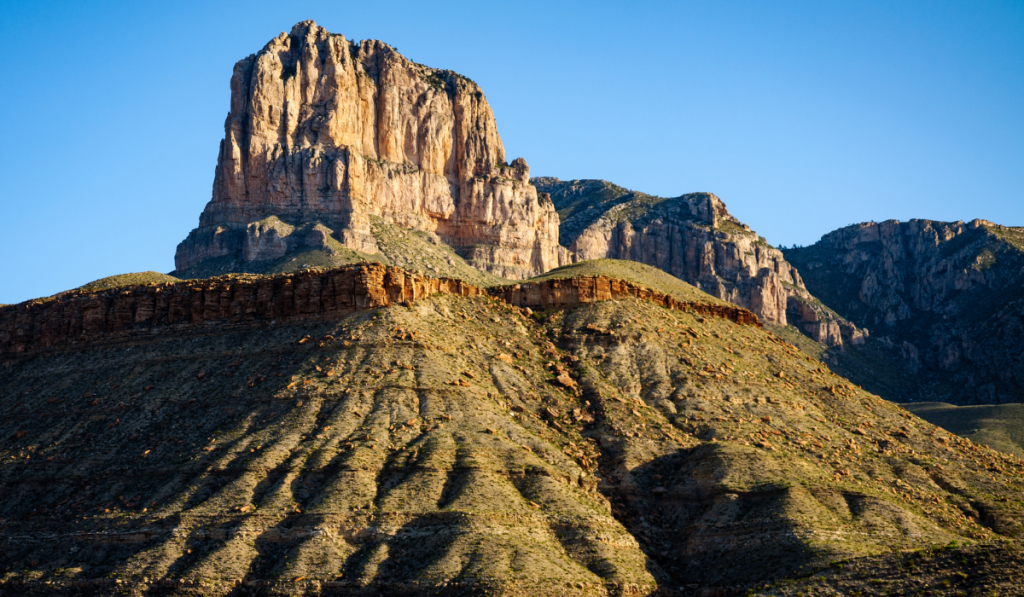 A photo of towering landscape of Guadalupe peak.