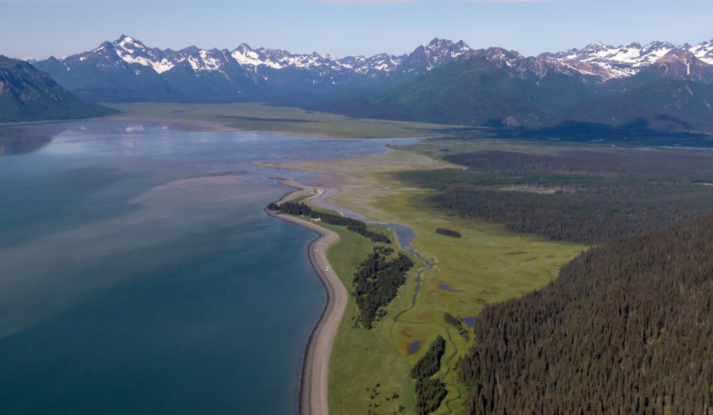Aerial view of the scenic Lake Clark National Park