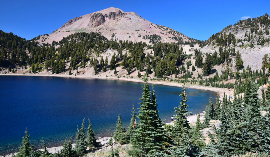 A magnificent view of Lake Helen with Lassen Peak at the background.