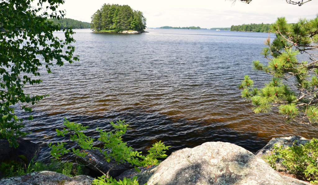 A scenic view of the lake at Voyageurs National Park.