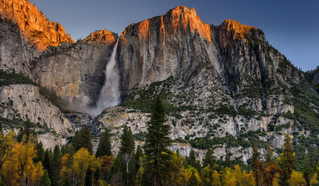 AN amazing view of Yosemite canyon and Falls during sunset