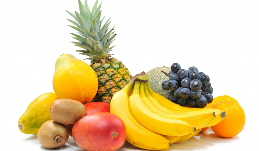 Assorted fruits in a white background.